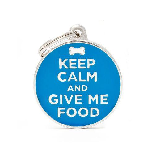 Placa-circulo-azul-keep-calma-and-give-me-food